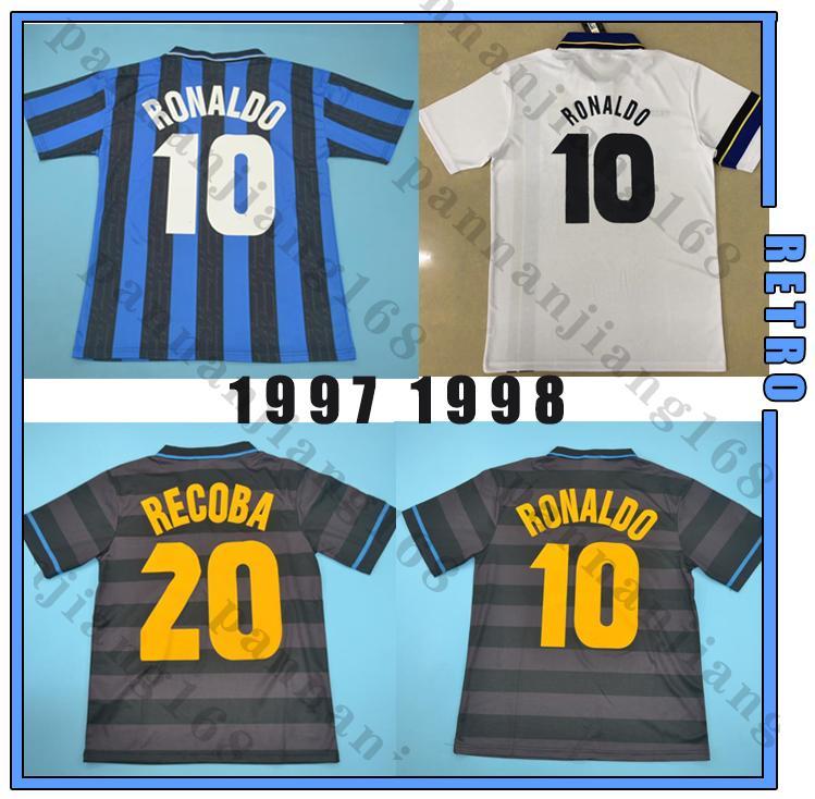 Inter 1997 1998 # 10 رونالدو ريترو لكرة القدم جيرسي كرة القدم قميص أسود 97 98 الكلاسيكية djorkaeff simeone zamorano خمر maglia da calcio