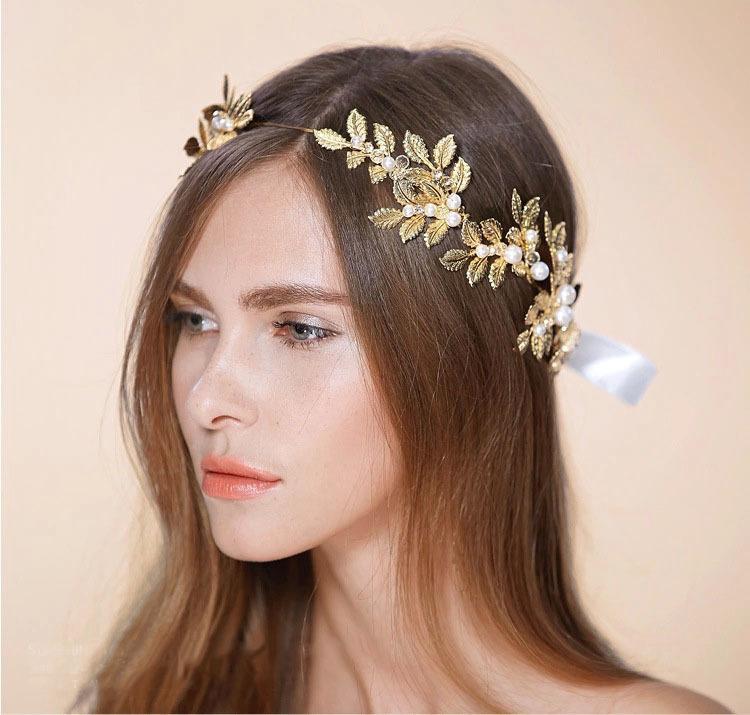 Diosa griega diadea de oro laurel hoja diadema grecian corona nupcial perlas de nupciopea dama de honor damas de honor regalo de la espíritu de graduación del regalo W0104