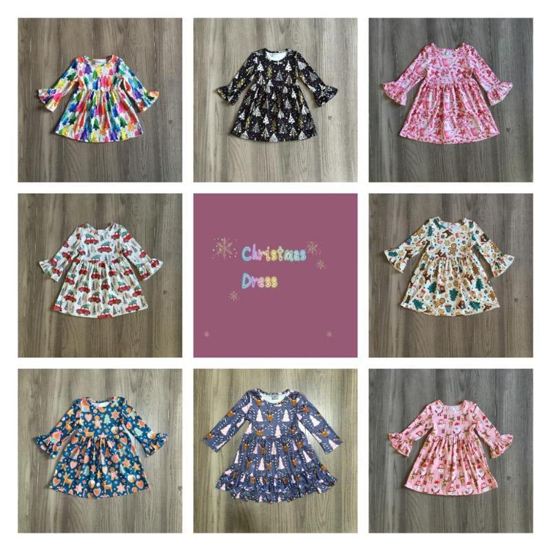 Vestidos de niña exclusivos Girlymax Chicas Chicas niños Ropa para niños Santa Claus Caída / Invierno Manga larga Ruffles Leche Vestido de seda Boutique