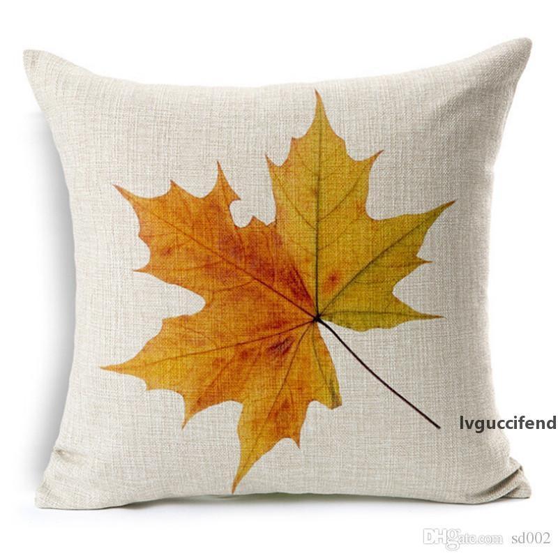 Creative outono travesseiro padrão decíduo pillowcase coxim tampa de algodão linho vermelho maple folhas pillowslip multi estilo 6 8xa II