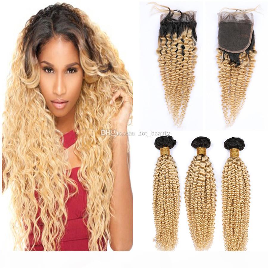 1b 613 блондинки волосы ommre с кружевной закрытием kinky вьющиеся волосы уточняют волосы перуанские девственницы человеческие волосы темные корневые 3 пакета с кружевной закрытием