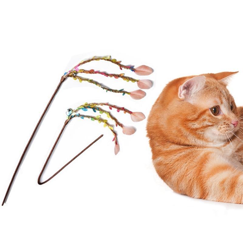 القط لعب دعابة عصا لعبة هريرة مضحك الملونة الرياح الطبيعية الجنية ريشة عصا
