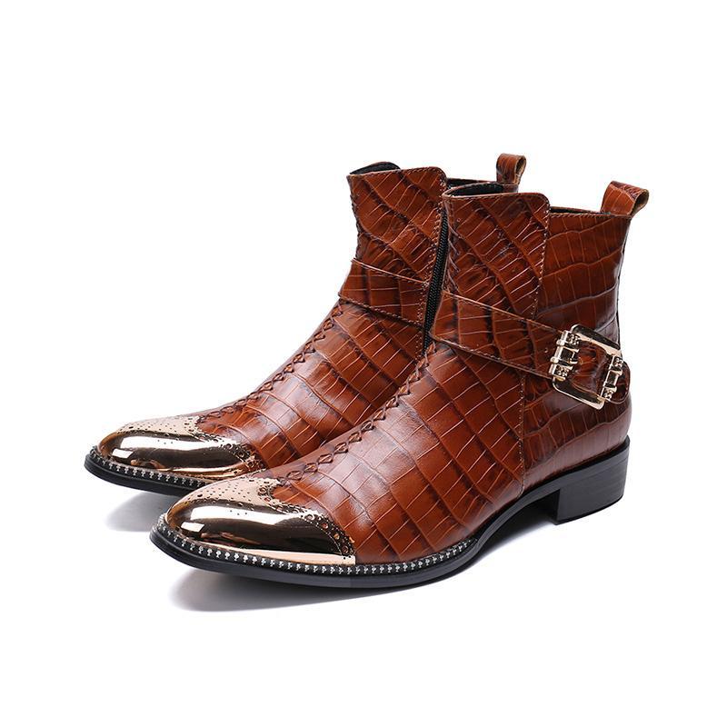 Botas de invierno guapo Hombres Roma Brown Hombres de cuero genuino Botas de metal corto Cowboy Motorcycle Boots Cool, US12