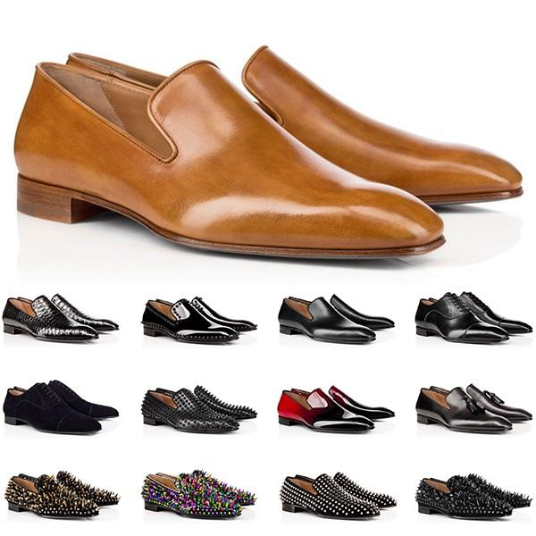 Tasarımcı Erkek Hakiki Deri Ayakkabı Kırmızı Dipleri Düşük Kesim Çivili Spike Elbise Ayakkabı Düğün Erkekler Eğitmenler Sneakers Boyutu 40-47