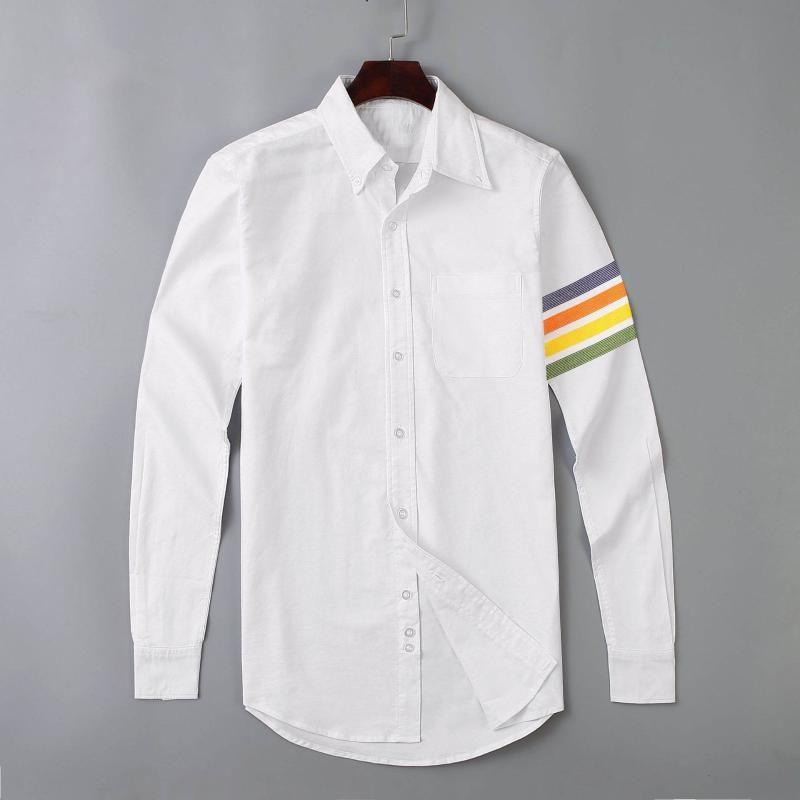 Camicie casual da uomo 19SS Uomo Oxford classico colorato camicia di cotone a righe colorate in cotone di alta qualità maniche lunghe tasca lunga m 2xl # M54