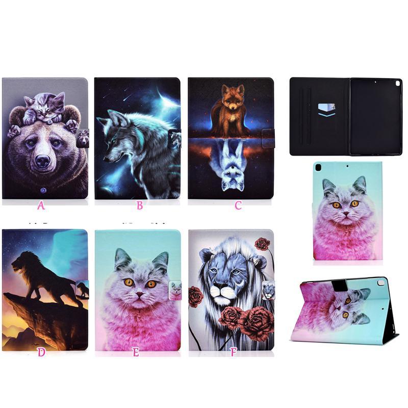 Moda Cartera de cuero del caso para Samsung Tab Tablet A7 T500 T505 2020 10.4 '' León Lobo Flor Bear Cat Fox titular de la tarjeta de identificación del tirón ranura de la cubierta