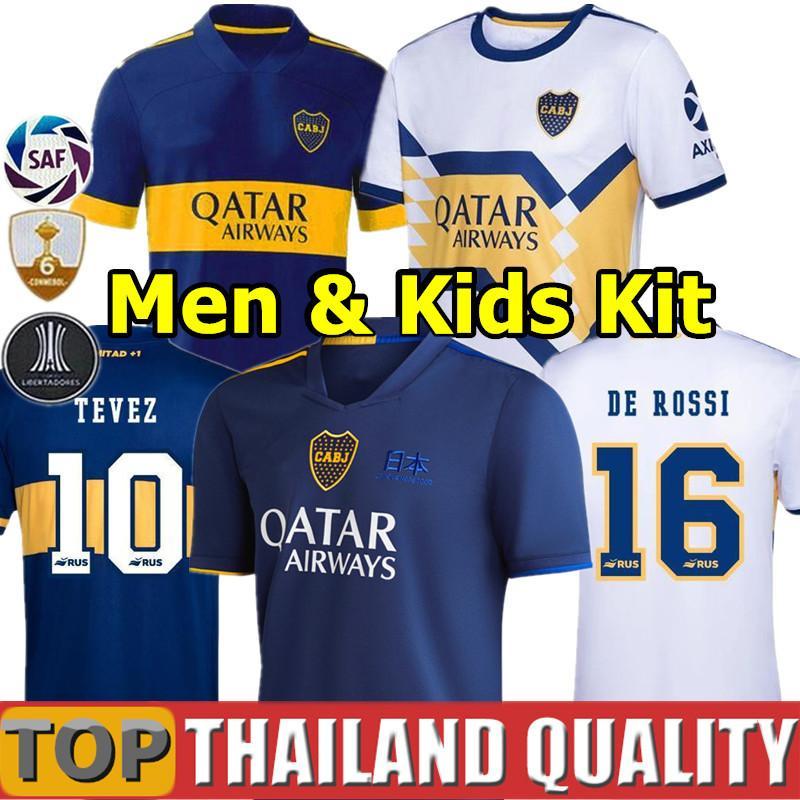 2020 2021 boca Juniors camisetas de futebol 20 21 boca Juniors TEVEZ MARADONA MOURA ABILA camisa de futebol REYNOSO DE ROSSI JRS homens kit crianças