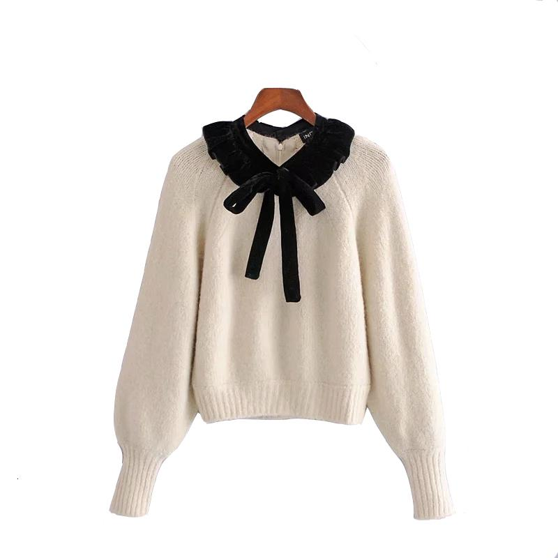 2021 New Women Wool Blend Knitted Sweater Woman Autumn Winter Fashion Contrast Ruffle Bow o Neck Long Puff Sleeve Pullover Rjtl