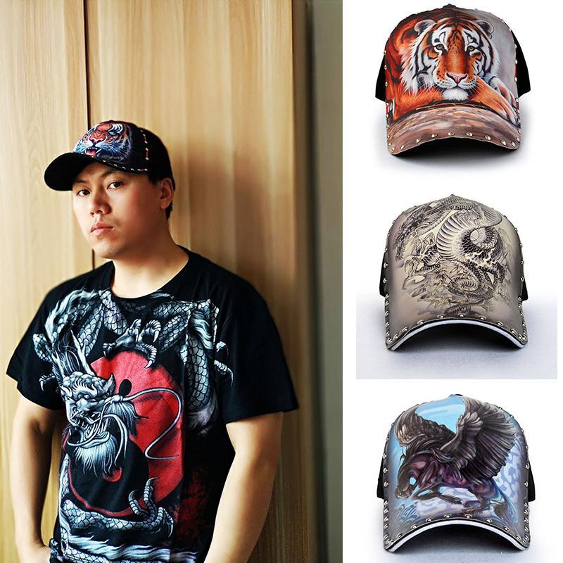 3D original chinês dragão tigre bonés de beisebol para mulheres com rebite streetwear homens chapéus hip hop cap snapback osso 2020 paizinho tampas f1208