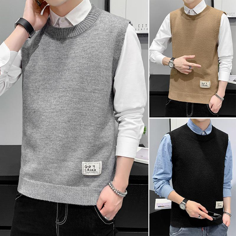 Nouveau automne 2020 Pull occasionnel Coréen Couleur solide Polyatile Jeunes élèves Beau jeune gilet de laine pour hommes