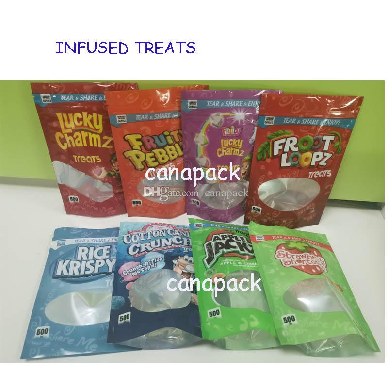 Traitement infusé 500 mg de sacs d'emballage Caramel Treats Fruité Pebblez Medicatd Candy Gummies Lucky Charmz Tree Candy Edibles
