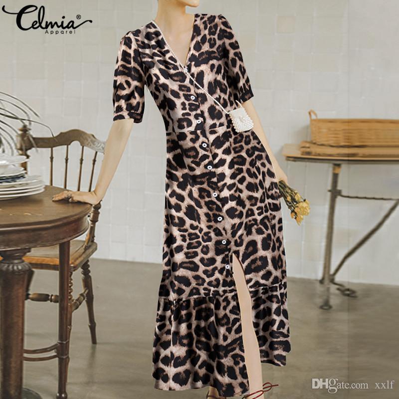 Celmia Bohemian Leopard Print Kleid Sommer Frauen Fashio Rüschen Maxi Lange Sommerkleid V-Ausschnitt Kurzarm Strand Vestidos Plus Größe