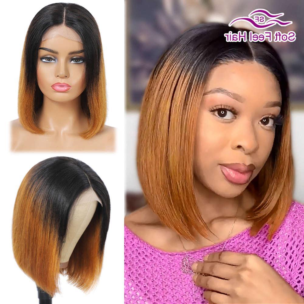 OMBRE HUMANO BOB Pelucas para mujeres negras Coloreado 4x4 Lace Remy Short Brasileño Brasileño Cierre de cierre de peluca suave