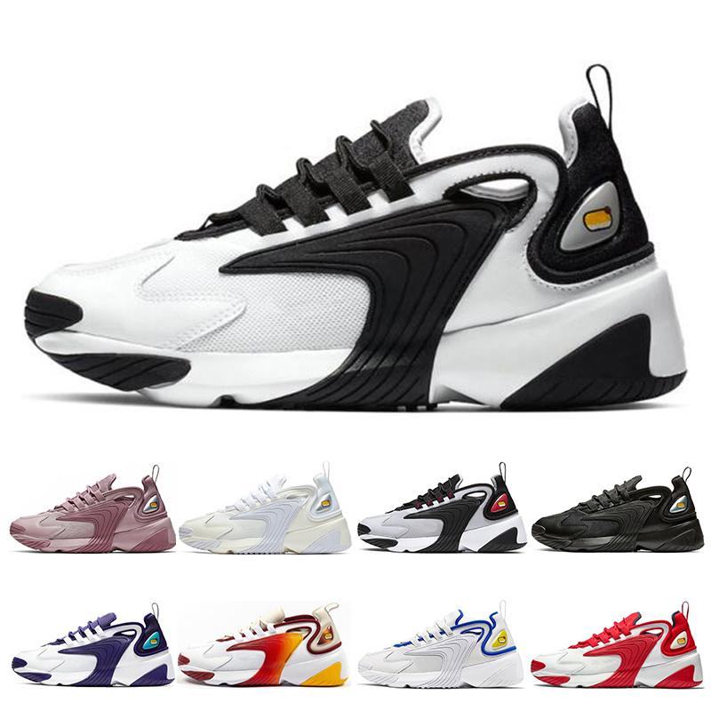 Zoom M2K Tekno 2000 세일 화이트 - 블랙 짙은 회색 남성용 운동화 신발 에어 스포츠 신발