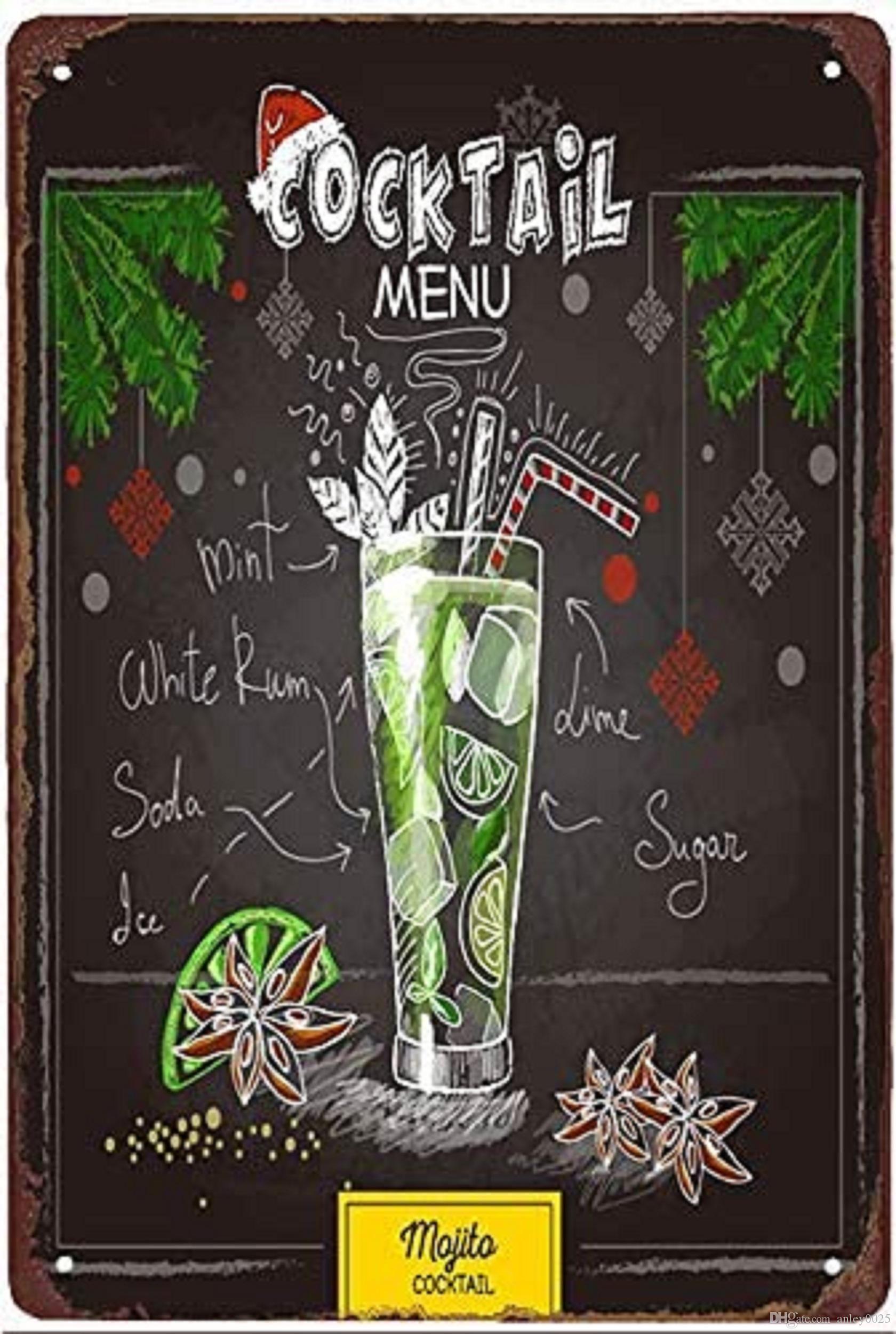 Blue Hawaii cocktail metallo segno vintage pub decorazioni da parete per bar pub club