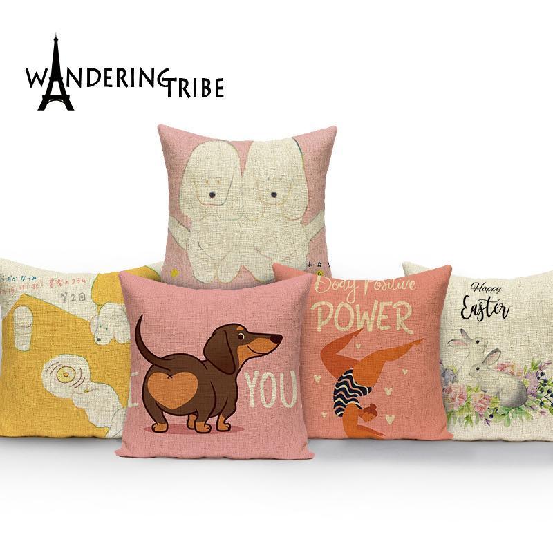 Paskalya, Greyhound Ev Dekorasyon Kapakları Araba Yastıklar Kılıf Karikatür Hayvanlar Kanepe Yastıkları Yatak Odası Yastık Kılıfları