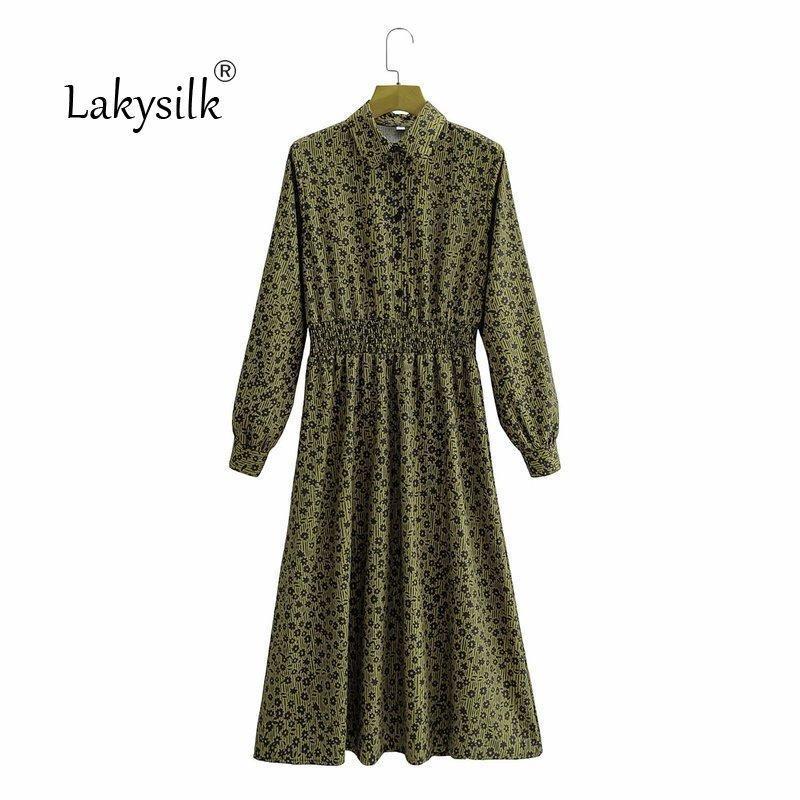 Vintage Floral Print Vestido Maxi Vestido Mujer Boho Manga Larga Cintura Alta Vestido largo Girar Cuello Casual Camisa Vestidos Verde