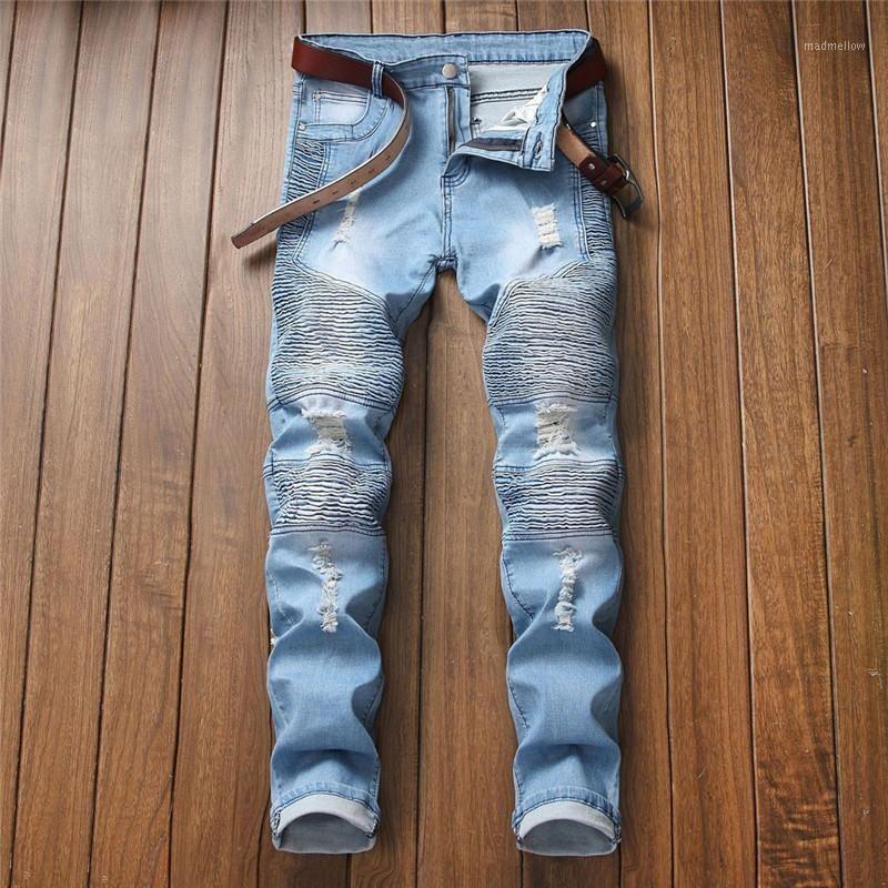 Jeans masculinos Moda Masculino Personalidade Solta Rasgado Slim Fit Zipper Esticão Denim Calças Calças de Calças Homem Calças Para Homens E211