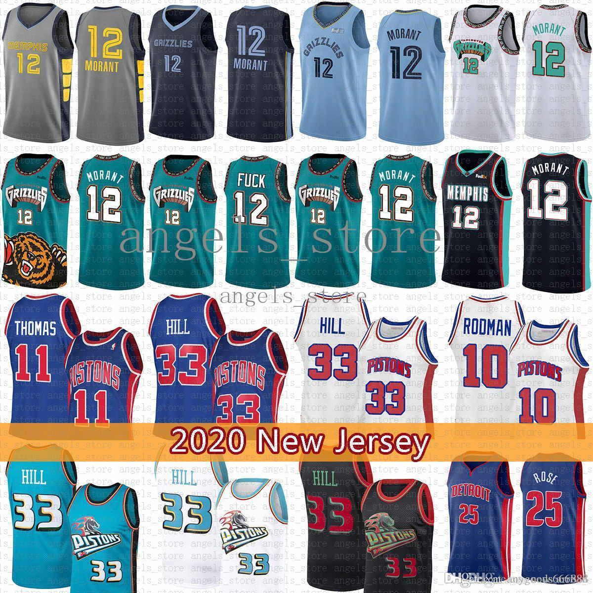 Grant 33 Hill Ja 12 Ahlaki Basketbol Jersey Isiah 11 Thomas Dennis 10 Rodman Derrick 25 Rose MemphisGrizmaDetroitPiston