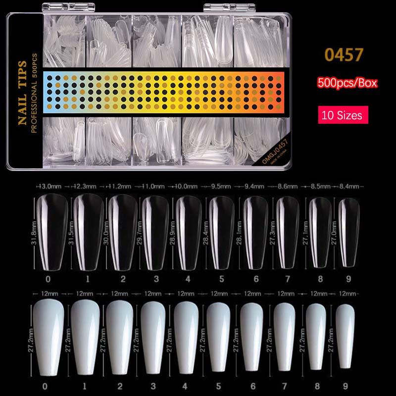 500pcs/Box Nails Long Ballerina False Nails Tips Style Clear Natural Full Cover Ballet Acrylic DIY Home with Case