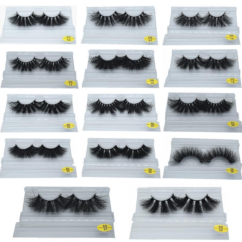 DHL 25 mm 5D Null Wimpern Dramatischer langer Nerz-Wimpern-Make-up-Vollstreifen-Wimpern 25mm Falsche Wimpern 3D Mink Wimpern wiederverwendbar