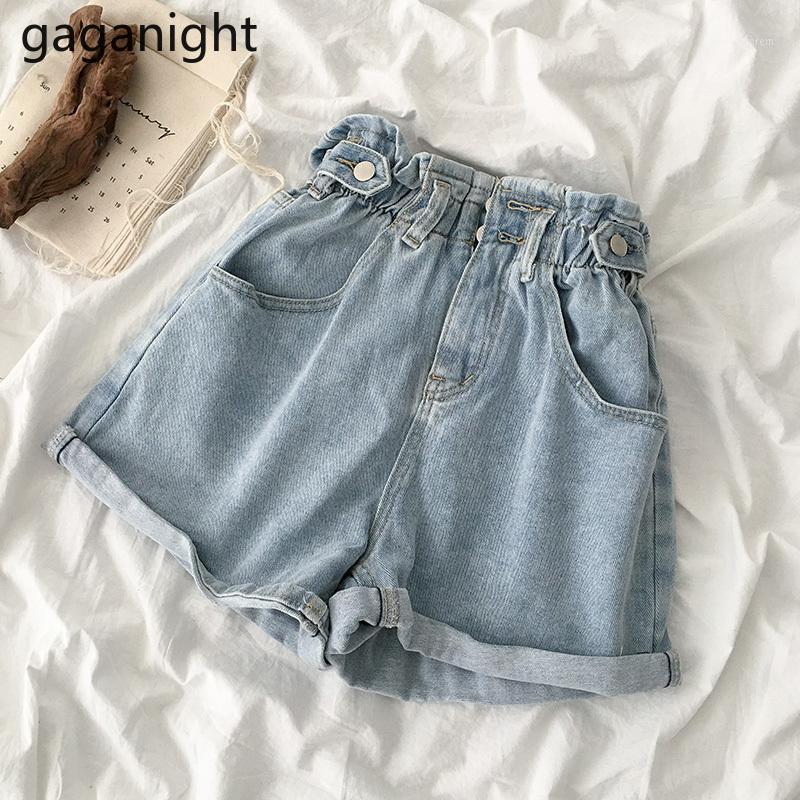 Женские шорты Gaganight мода летние женщины джинсы короткая эластичная высокая талия плюс размер джинсовые девушки женские шикарные случайные брюки широкий leg1