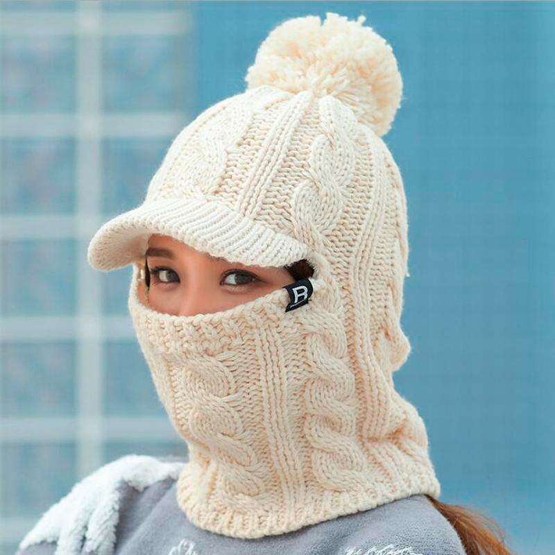 Caldo collo maglia cappello pelliccia pompon cappello maschera inverno per ragazza lana a maglia femmina balaclava caps gorras cofano
