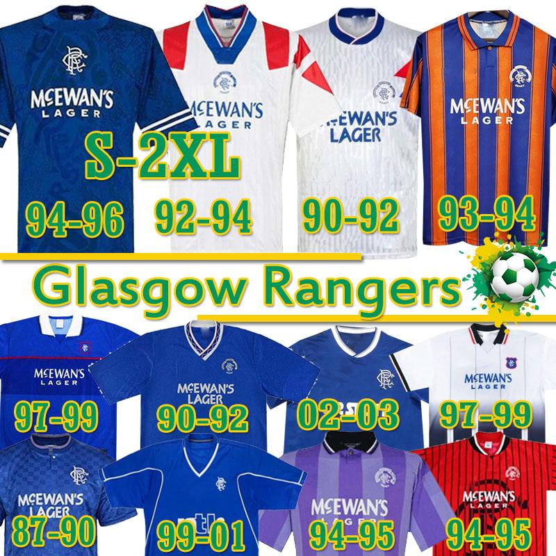 S-2XL Retro Glasgow Rangers Soccer Jersey Gascoigne Laudru 1984 87 90 92 93 94 95 96 97 99 2001 02 03 03 خمر كلاسيكي قميص كرة القدم موحدة