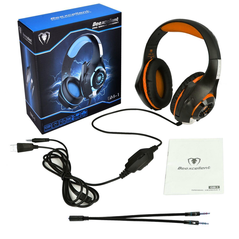 BEEXCELLENT GM-1 GAMING Kopfhörer mit MIC LED-Licht Stereo-Spiel Headset 3.5mm verdrahtete USB-Kopfbandkopfhörer für PC / PS4-Gamer