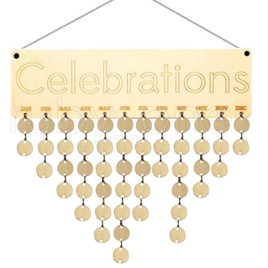 어머니를위한 최고의 선물 목조 가족 생일 알림 달력 보드 DIY 기념일 트래커 플라크 벽 태그와 매달려 RR4013