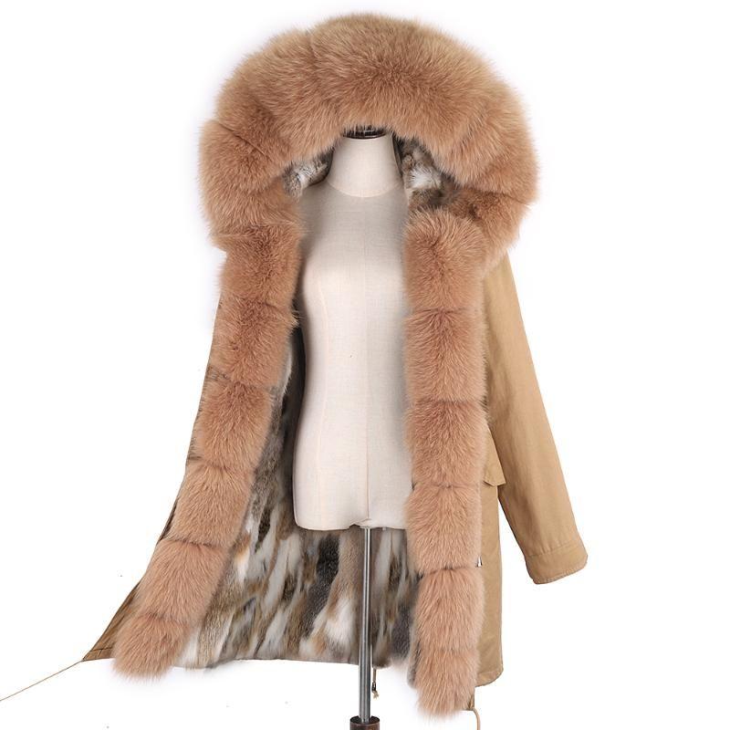 Lavelache 2020 Weibliche echte Pelzmantel Pelz Liner mit Kapuze Lange Oberbekleidung Largenatrual Kragen Winter Warme Jacke