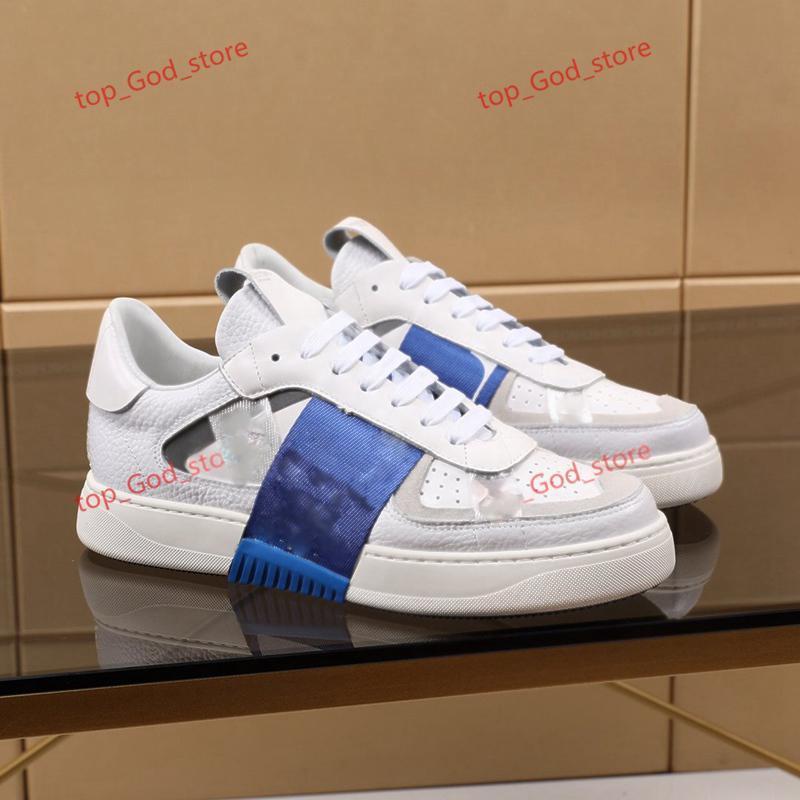 Valentino shoes 2020 Yeni Platform Ayakkabı İtalya Moda Erkek Açık Sneakers Şerit Çiviler Hakiki Deri Düz Rahat Tasarım Ayakkabı 38-44