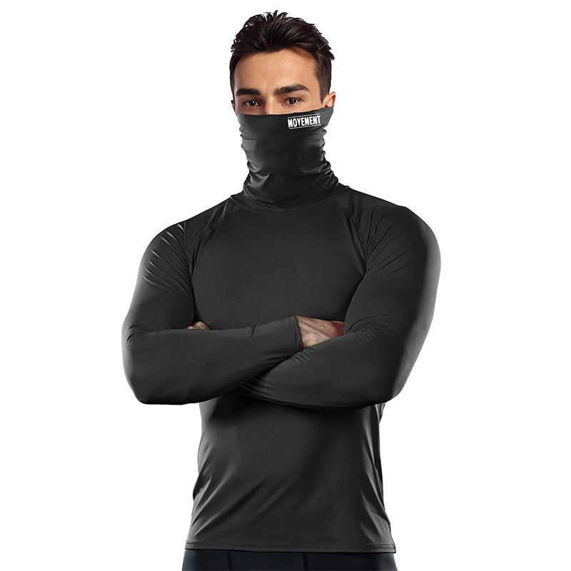 Erkekler Uzun Kollu Spor Giyim Hızlı Kuru Erkek Koşu Eğitim Bisiklet Vücut Doğa Sporları Giyim Koşu Gömlek Maske