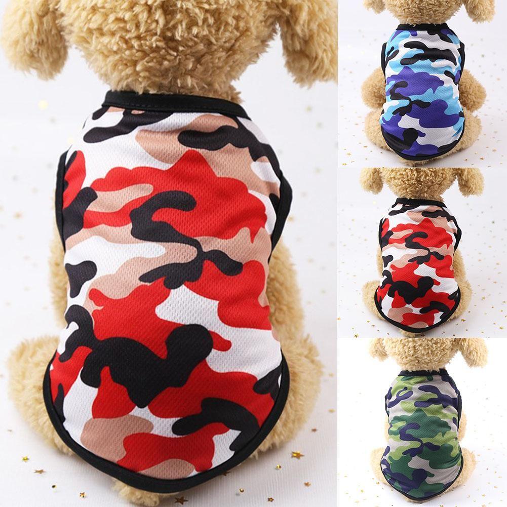 Ropa de fibra de perro Camuflaje Imprimir PET PET DOGS CAMISETA LINDO SummerDog Ropa Ropa Camiseta transpirable Pet Chaleco Fino Pequeño perro Ropa Puppy Chaleco