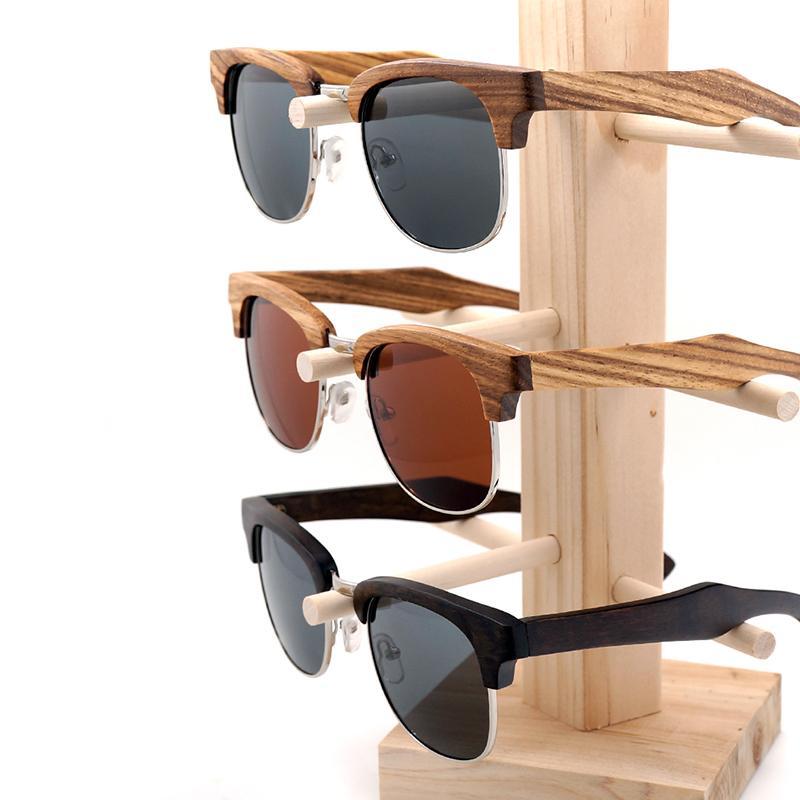 Bobo Bird AG017 Semi Descobrimento Design Unisex Listra de Madeira de Óculos de Sol Mulheres Mens Moda estilo óculos com Creative Box J1211