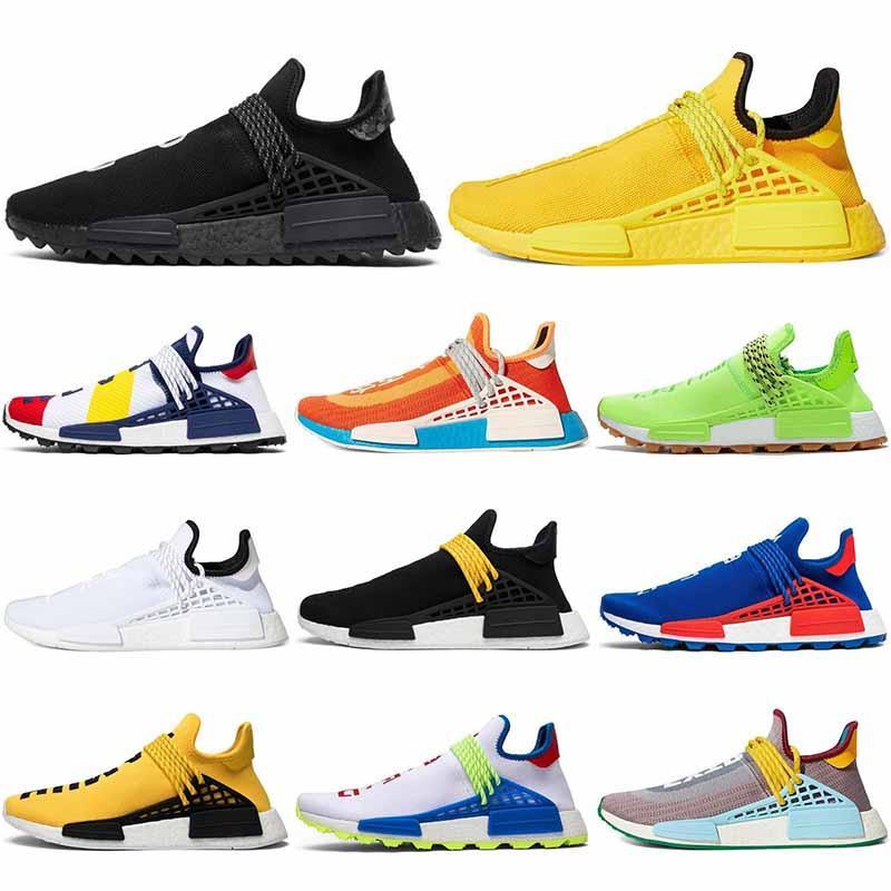 36-45 дополнительных глаз Hu Pharrell Williams человеческая гонка мужская беговая обувь Шоколадная тире зеленая солнечная упаковка женщин мужчин тренеров спортивные кроссовки