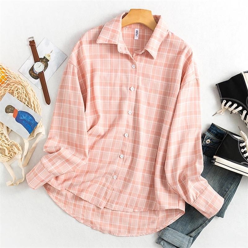 Ofis Bluz Kadınlar Vintage Ekose Gömlek Kore Tarzı Uzun Kollu Açılır Yaka Pamuk Moda Rahat Üst Büyük Boy Gevşek 201201