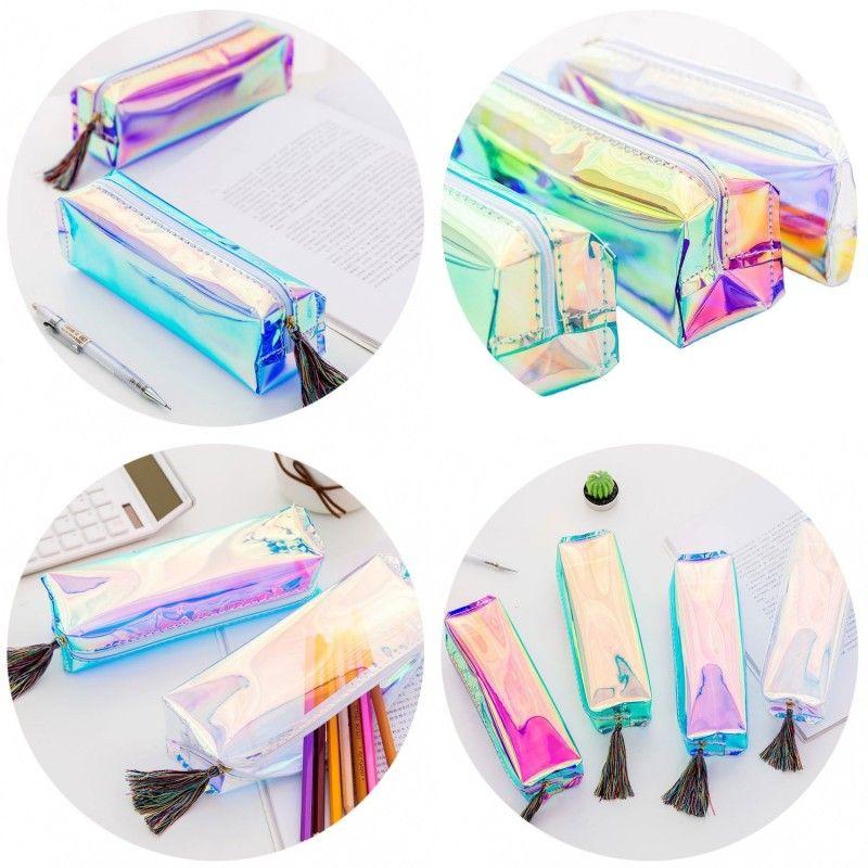 Transparent Laser Pencil Case Cute Stationery Tassels Pencil Bags Cosmetic Makeup Bag Tassels Zipper for School Office Travel 161 N2