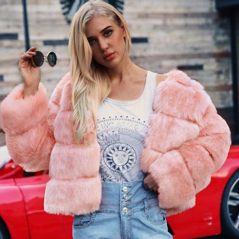 Mink Coats Mujeres 2021 Invierno Top Fashion Pink Faux Foux Abrigo Elegante Grueso Cálido Outer Womerwear Falso Chaqueta de piel falsa CHAQUETAS MUJER