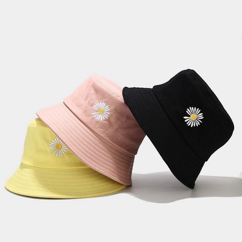Ampio cappello da corn oloey 2021 Piccola margherita stampa da letto a doppia faccia secchio da donna casual cappello piatto vacanza in solido pesca