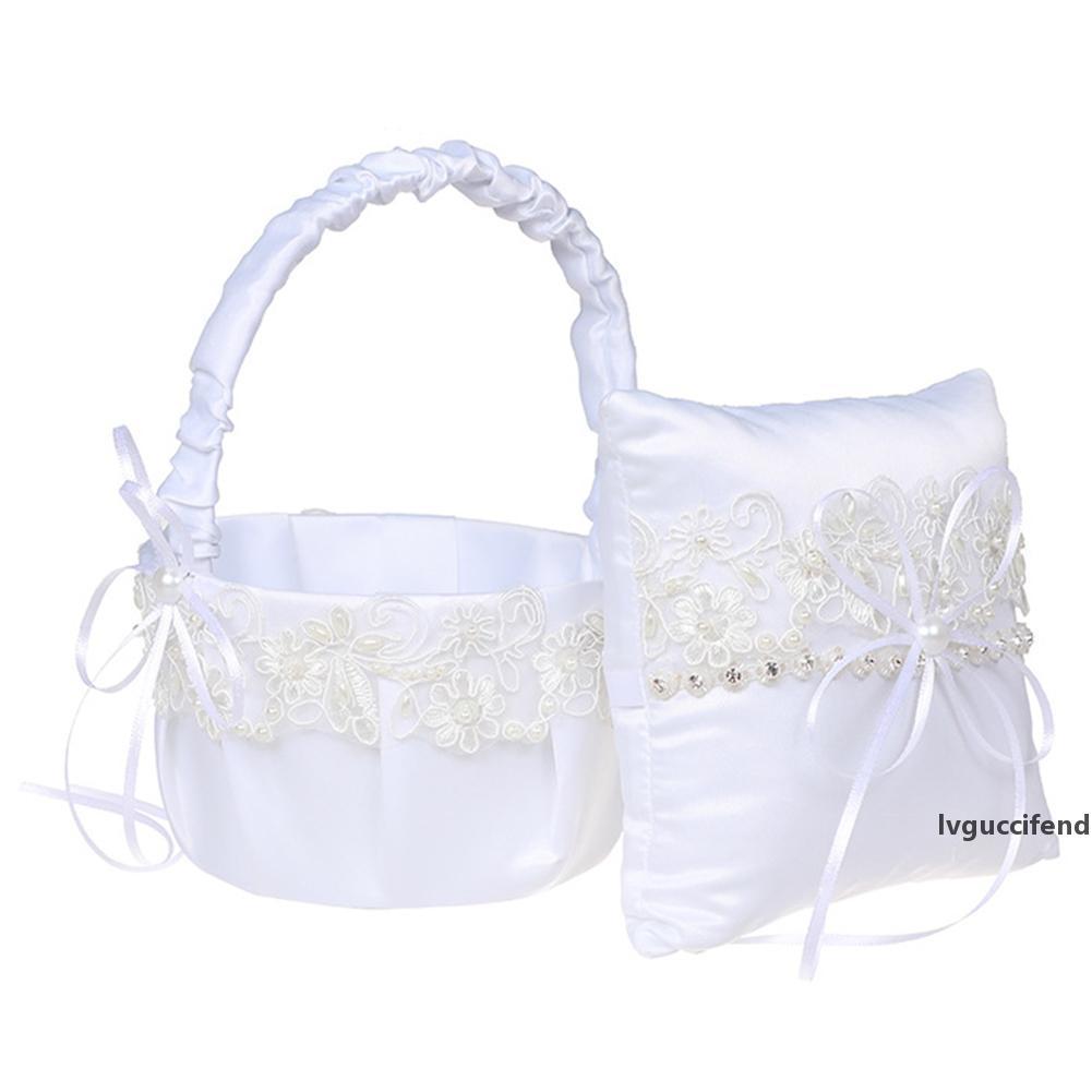 Gelin Damat Keepsaker Hediyeler İçin Düğün Kız Çiçek Sepeti Yüzük Yastık Beyaz Dantel Şık Halka Tutucu