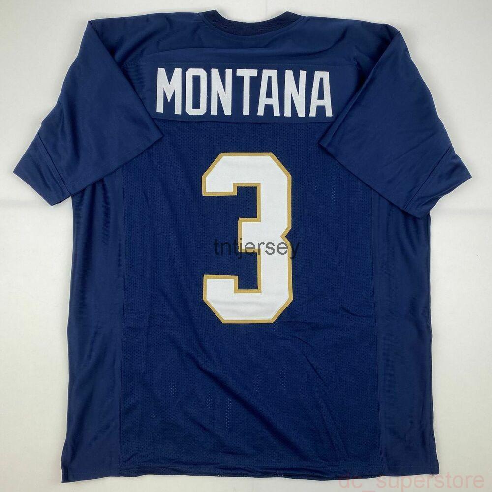 Cheap özel yeni joe montana mavi kolej dikişli futbol jersey dikişli herhangi bir isim numarası ekle