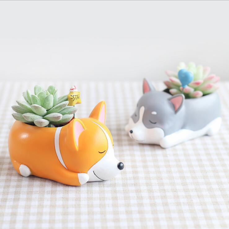 العصارة أواني الزهور الكرتون الكلب نائما الغراس الإبداع جرو الراتنج بذر اواني سطح المكتب الديكور المنزل والحديقة OrnamentsSEA AHC3662