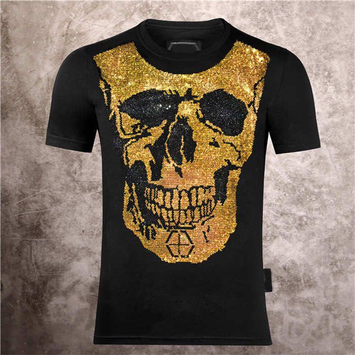 2021 새로운 남자의 두개골 웃는 얼굴 인쇄 필립 일반 패션 캐주얼 여름 반팔 티셔츠
