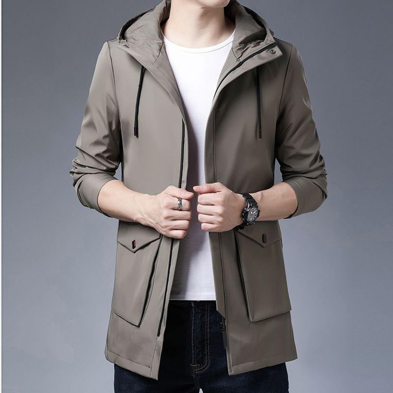 Куртка с капюшоном Весна осень средней длины ветровка корейская мода молодой и среднего возраста красивый тонкий повседневный мужской пальто