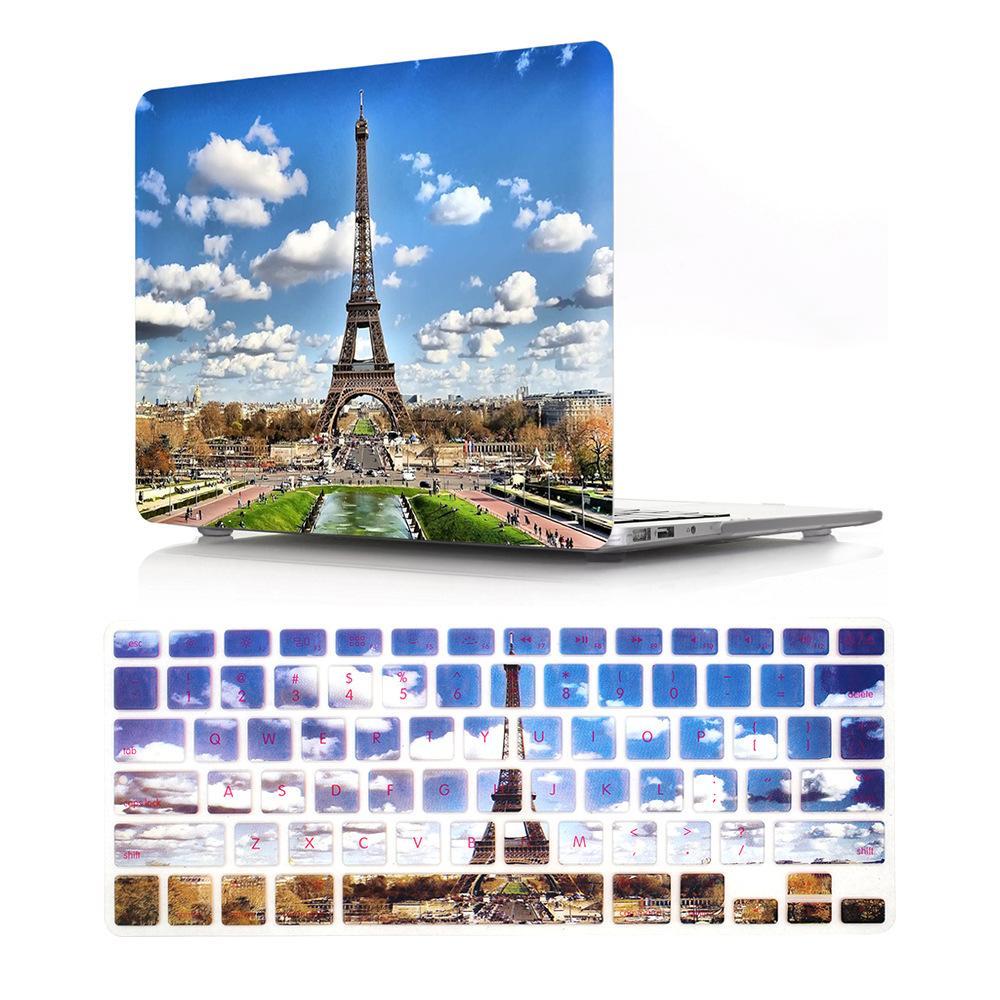 حالة كمبيوتر محمول ل macbook air 13 بوصة حالة مع غطاء لوحة المفاتيح تأثير 3D ماتي واضح انظر من خلال الغطاء الصلب مختلف نمط
