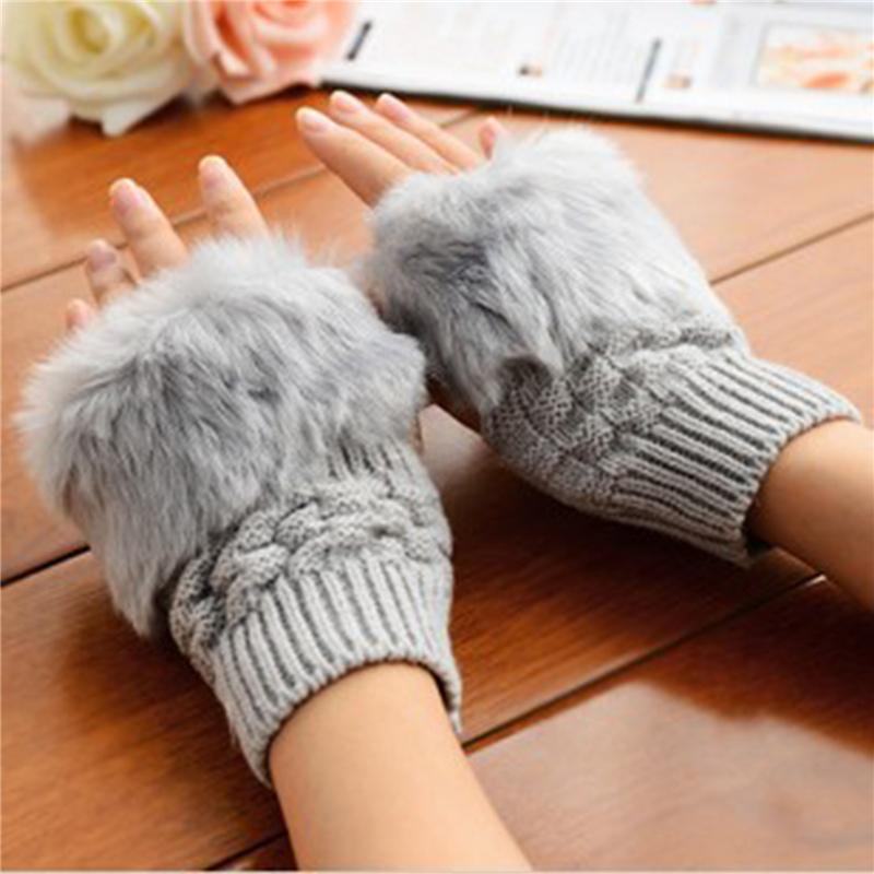 Cinco Dedos Luvas Senhoras Inverno Malha Aquecedor Pelúcia Metade Dedo Dedo Outono Sólido Tumular Tela Thermal