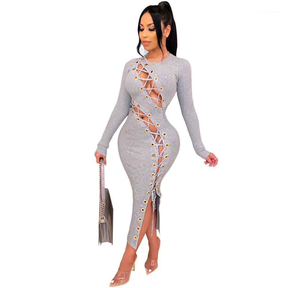 Vestidos de bandejo de hueco de paneles sexy de hueco de hueco de moda ropa mujer diseñador de mujeres un vestido de línea otoño