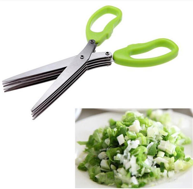 Acessórios de cozinha de aço inoxidável Cozinhar ferramentas facas 5 camadas tesoura sushi shredded scallion corte erva esporas scissors wq564