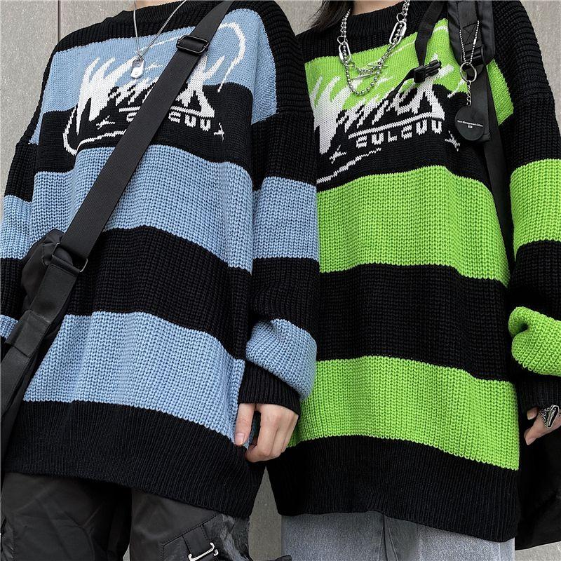 Frauenpullover Streifen Brief Casual Tops Harajuku Pullover Herbst Dropshipping Vintage Punk Hip Hop Streetwear Koreanische Kleidung